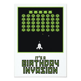 Space Invasion Birthday Invitation