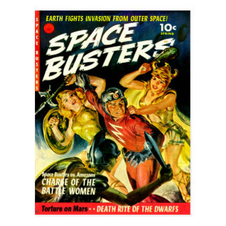 Space Invasion of Beautiful Alien Women Postcard