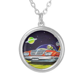 SPACE JET CAR SILVER PLATED NECKLACE