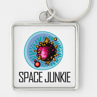 Space Junkie Asteroid Silver-Colored Square Keychain