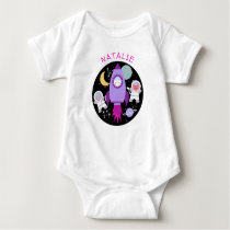 Space Kittens Cat Astronaut Purple Rocket Baby Bodysuit