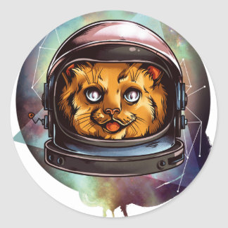 Space Kitty will boldly go..... Classic Round Sticker