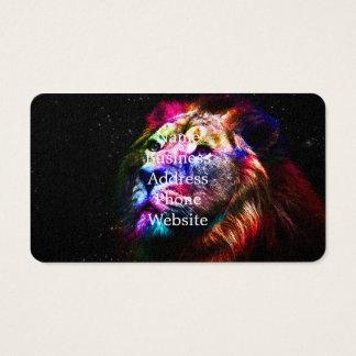 Space lion - colorful lion - lion art - big cats business card