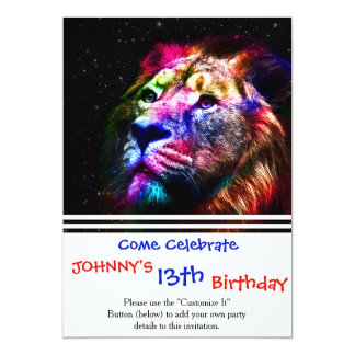 Space lion - colorful lion - lion art - big cats card