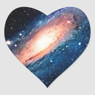 Space -m31 spyral galaxy heart sticker