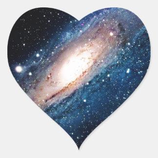 Space m31 spyral galaxy heart sticker