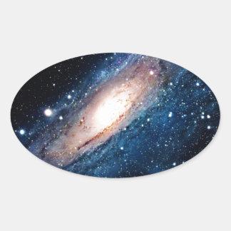 Space m31 spyral galaxy oval sticker