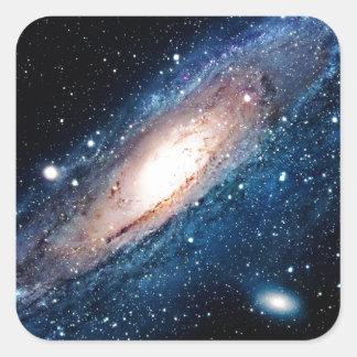 Space m31 spyral galaxy square sticker