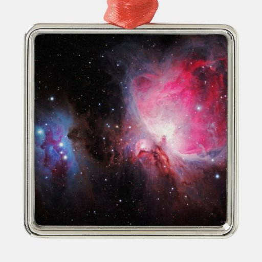 Space M42  Great Orion Nebula  Ghost Nebula Square Metal Christmas Ornament
