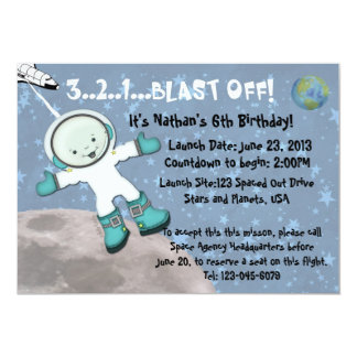 Space Man Birthday Party Card