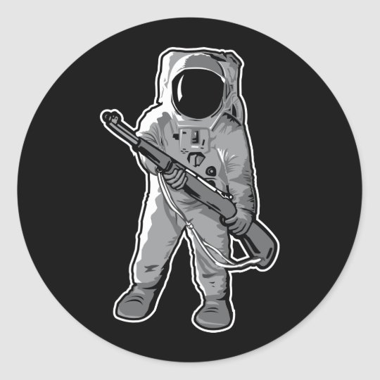 Space Marine - Astronaut with a Rifle Classic Round Sticker