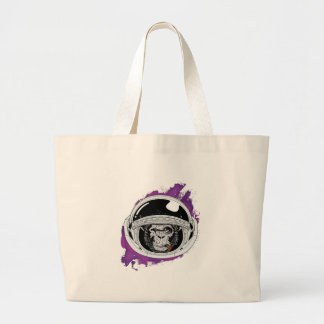 Space Monkey Purple Large Tote Bag