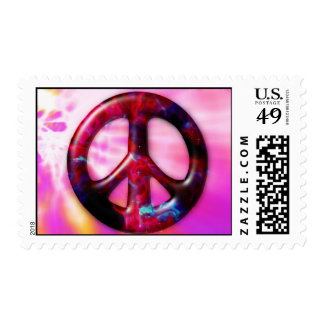 Space Nebula Peace Sign Postage Stamps