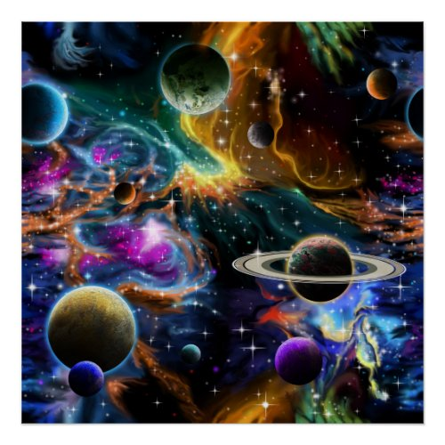Space Nebula with Planets and Stars Poster