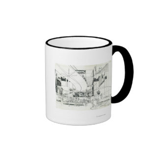 Space Needle Aerial Concept Drawing 2 Ringer Mug