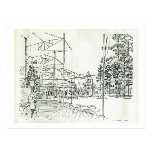 Space Needle Aerial Concept Drawing 3 Post Card