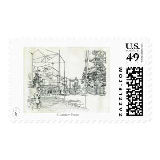 Space Needle Aerial Concept Drawing 3 Stamps