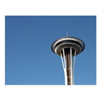 Space needle in blue sky postcard
