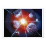 "Space nova burst planets spraypainting 5"" x 7"" invitation card"
