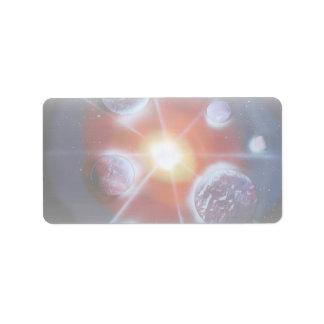 Space nova burst planets spraypainting label