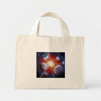 Space nova burst planets spraypainting mini tote bag