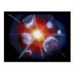 Space nova burst planets spraypainting postcard