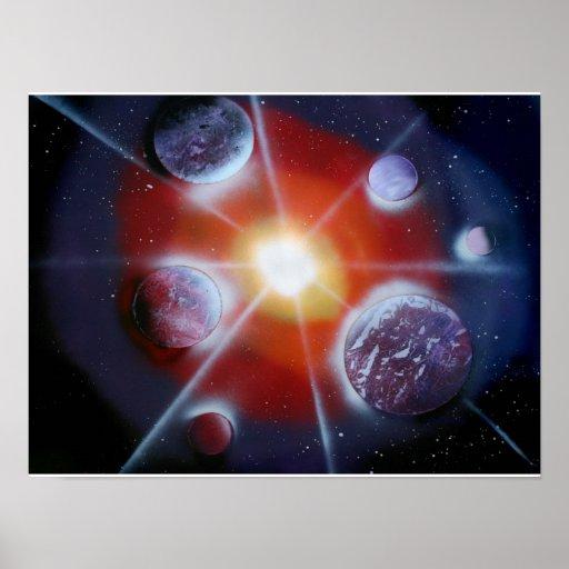 Space nova burst planets spraypainting print