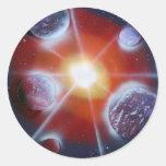 Space nova burst planets spraypainting round sticker