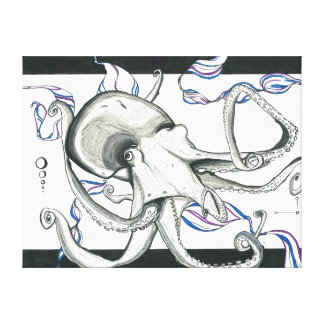 Space Octopus Canvas Stretched Canvas Print