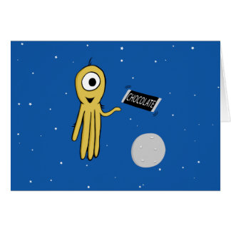 space octopus greeting card