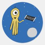 space octopus classic round sticker