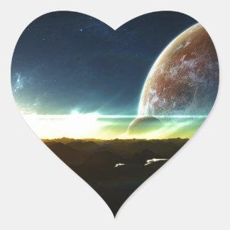 Space on the Horizon Heart Sticker