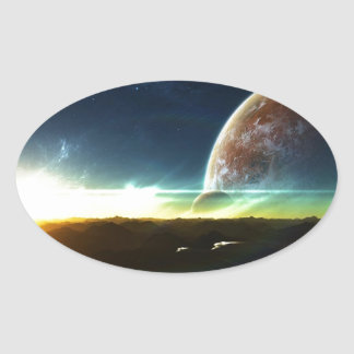 Space on the Horizon Oval Sticker