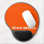 "Space orange gel mouse pad<br><div class=""desc"">Show your colors with pride!  Ever dreamed of becoming an astronaut? Then this should make you feel in touch with your dream for this shade of international orange is the color of astronaut suits.</div>"
