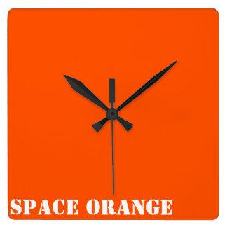 Space orange square wall clock