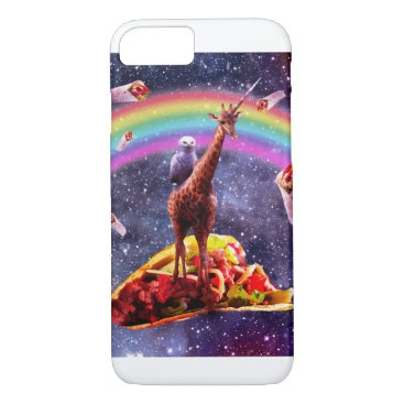 Space Owl Riding Giraffe Unicorn - Taco & Burrito iPhone 8/7 Case