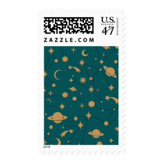 Space pattern postage stamp