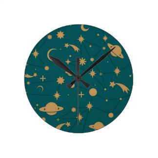 Space pattern round clock