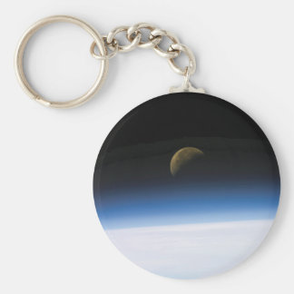 Space Photo Moon Rising Keychain