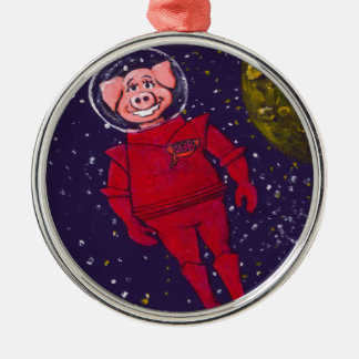 Space Pig Round Metal Christmas Ornament