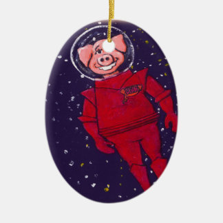 Space Pig Double-Sided Oval Ceramic Christmas Ornament
