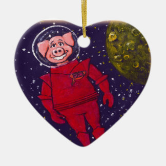 Space Pig Double-Sided Heart Ceramic Christmas Ornament