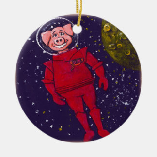 Space Pig Double-Sided Ceramic Round Christmas Ornament
