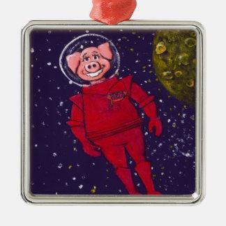 Space Pig Square Metal Christmas Ornament
