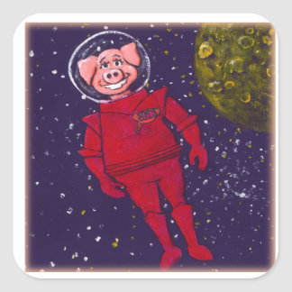 Space Pig Square Sticker