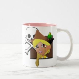 Space Pirate Girl Two-Tone Coffee Mug