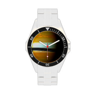 Space Planet Storms on Saturn Wrist Watches