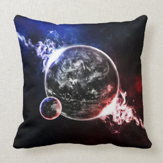 Space planets colorful artistic illustration throw pillow