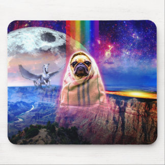 Space pug, I come in peace dog Mouse Pad