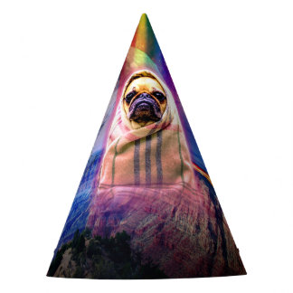 Space pug, I come in peace dog Party Hat